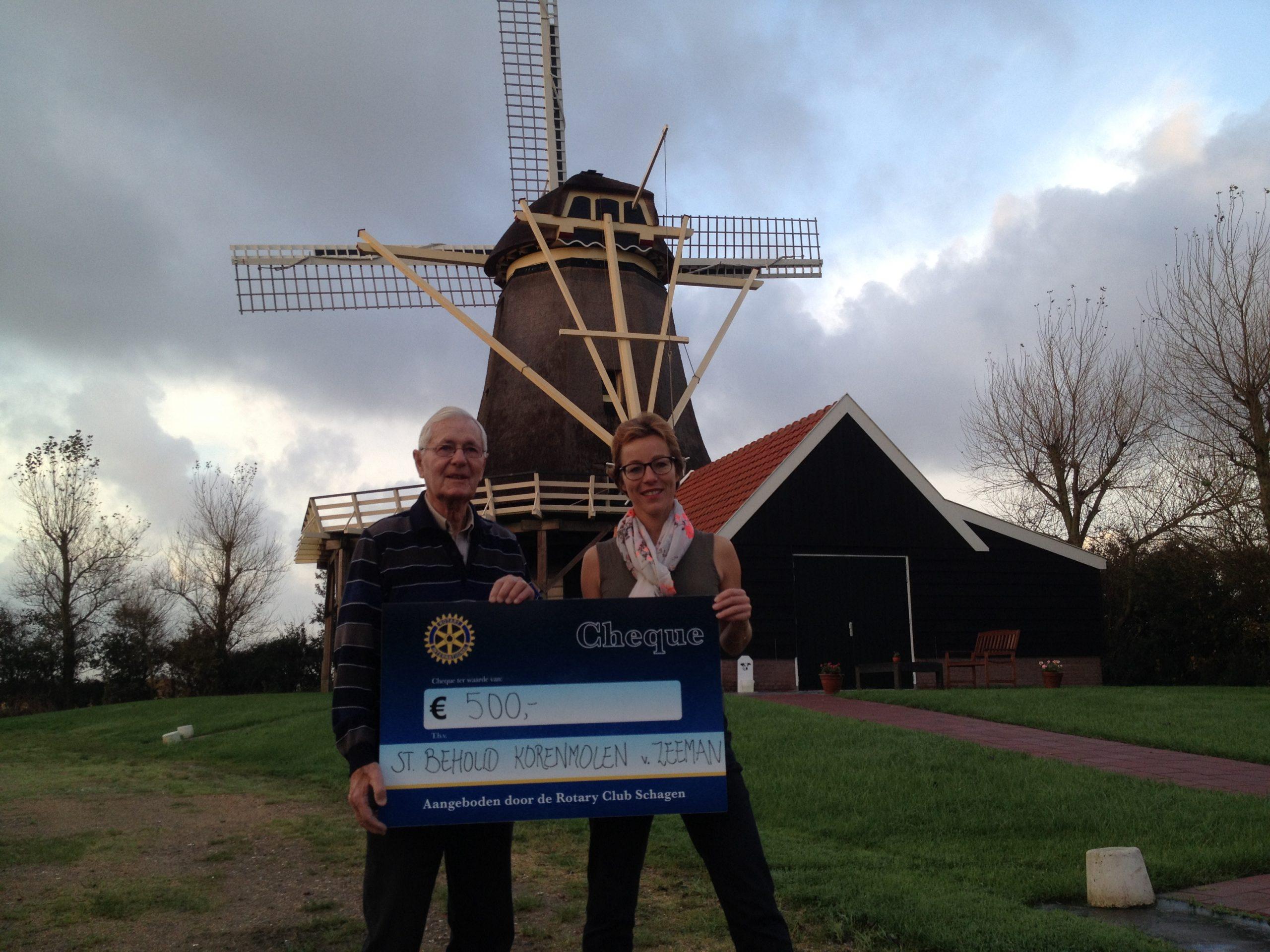 Cheque van Rotary club Schagen